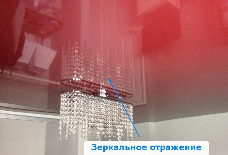Красный лаковый натяжной потолок