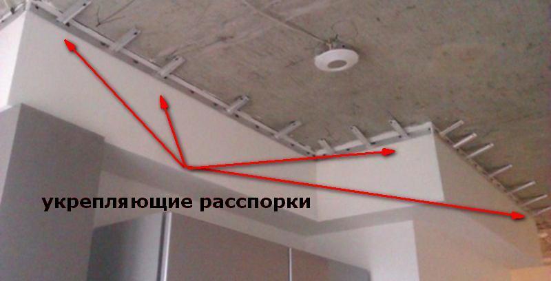 Укрепляющие распорки от потолка к настенному багету