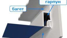 Схема крепления гарпуна и профиля (багета)