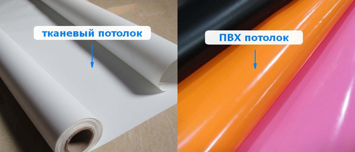 Натяжные потолки: тканевый и ПВХ