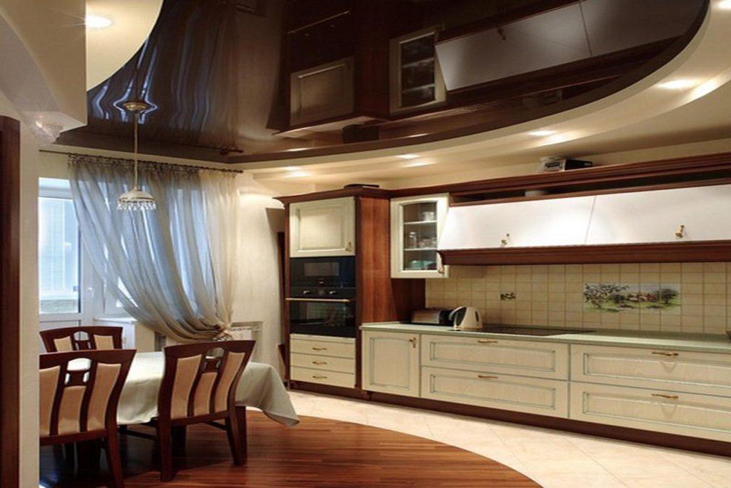 Коричневый натяжной потолок в интерьере кухни