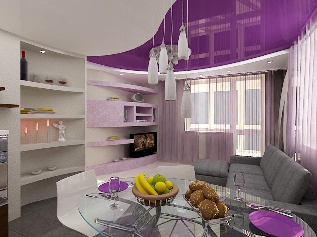 Фиолетовый натяжной потолок на кухне