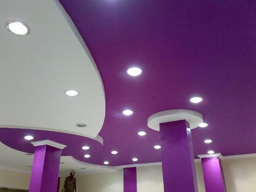 Матовый фиолетовый натяжной потолок