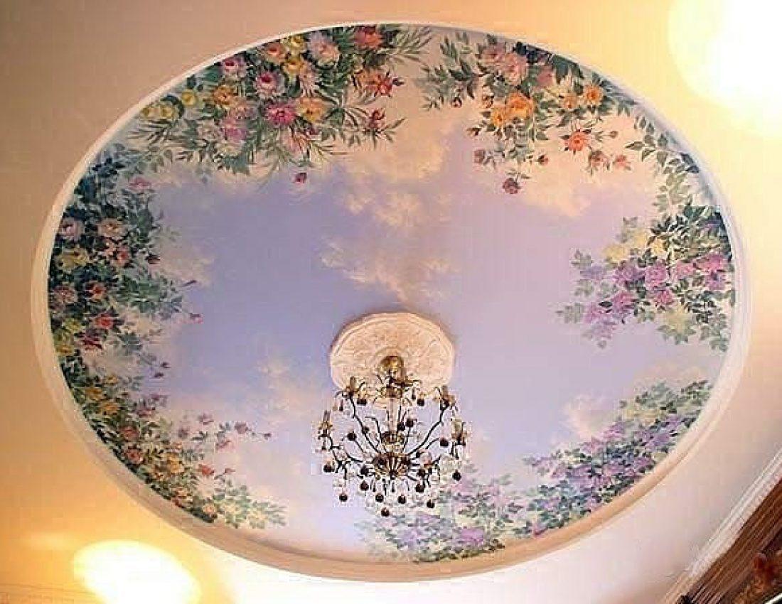 Роспись на потолке фото