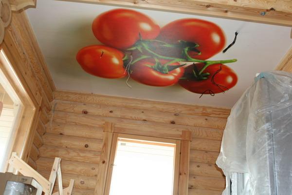 Натяжной потолок в деревянном доме с фотопечатью