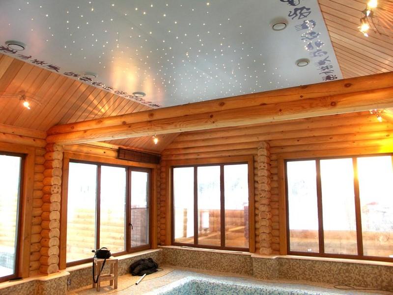 натяжной потолок в деревянном доме 3