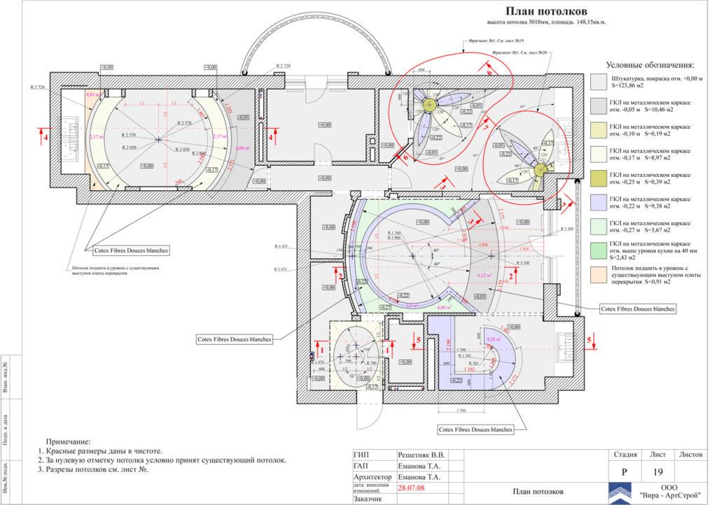 Пример схемы потолков для всей квартиры