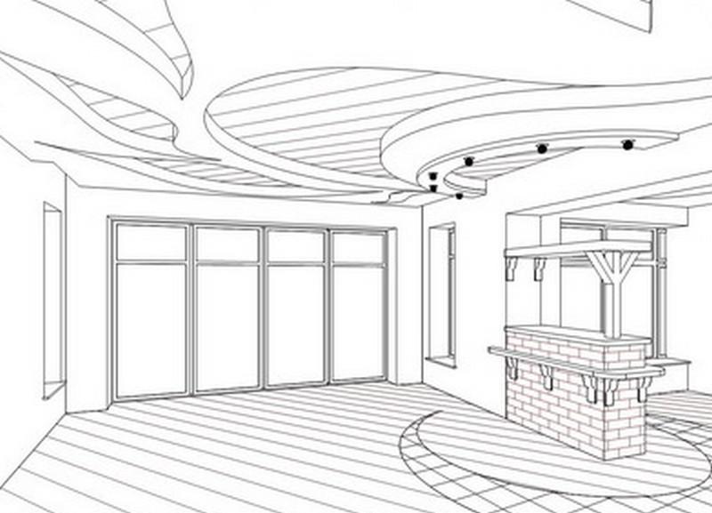 Проект готовой комнаты с потолком из гипсокартона