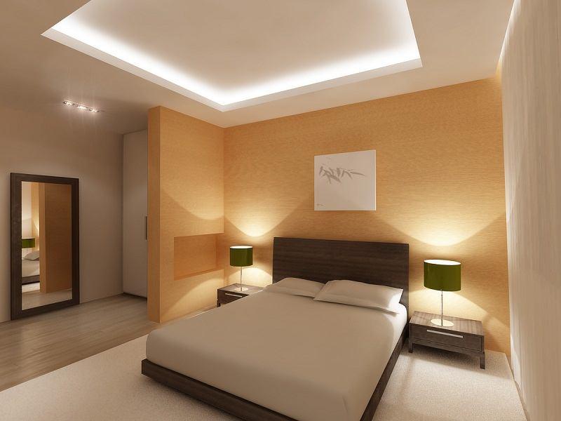 Двухуровневый потолок из гипрока в спальне