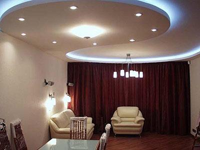 Потолок из гипрока в гостиной