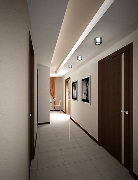 Гипсокартонный потолок в коридоре