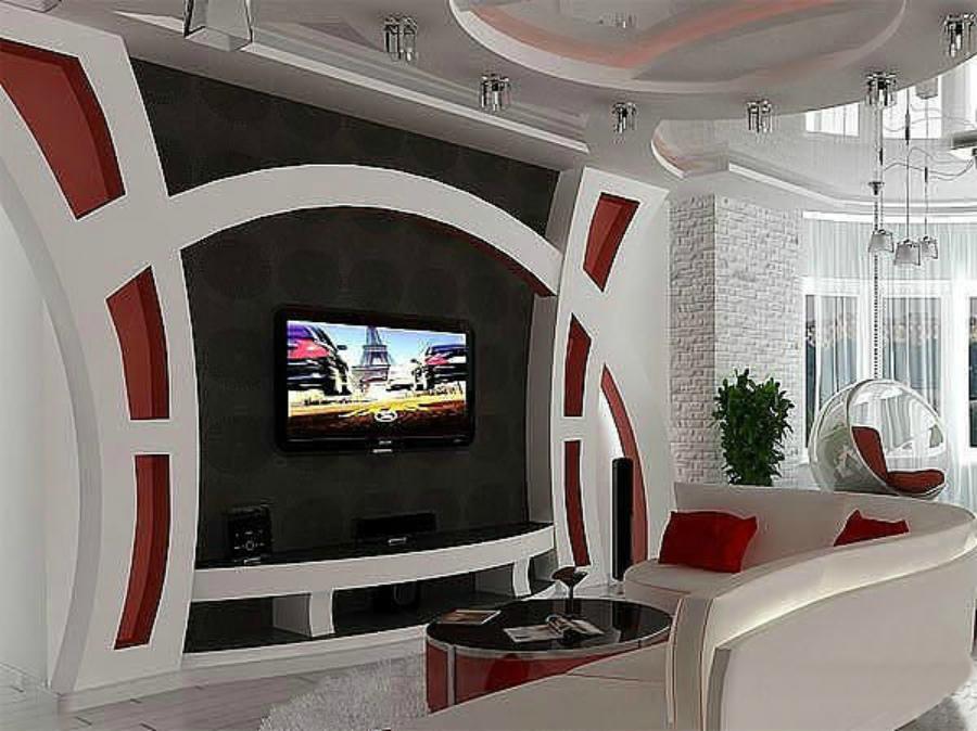 Фото дизайн стенки из гипсокартона