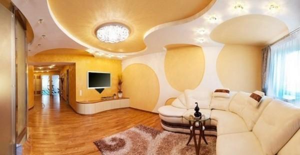 Конструкция из гипсокартона в гостиной