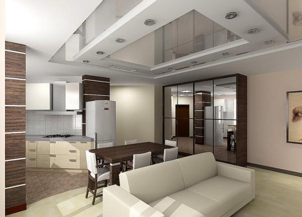 Двухуровневый потолок из гипрока в гостиной
