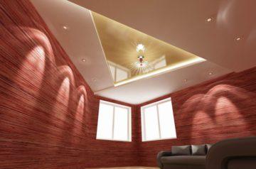 Потолок из гипсокартона в угловой комнате