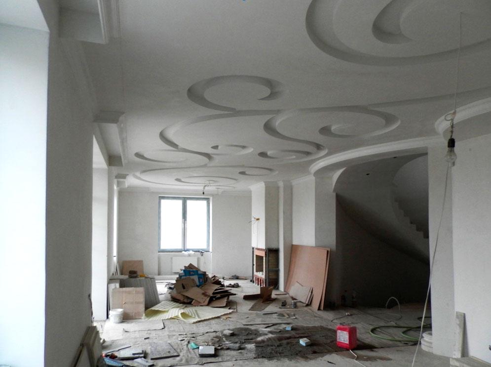 Узоры на потолке из гипсокартона
