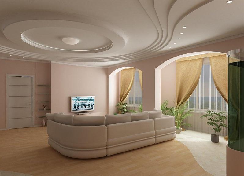 Дизайн потолка из ГКЛ в гостиной