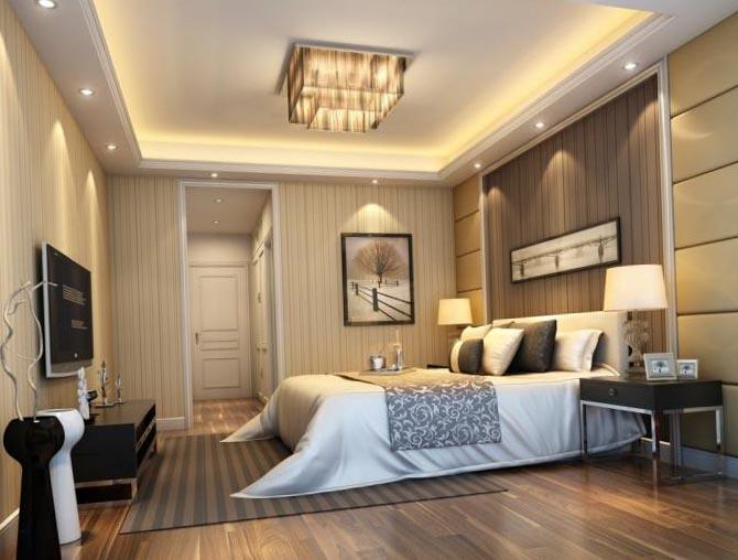 Гипсокартонный потолок в спальне