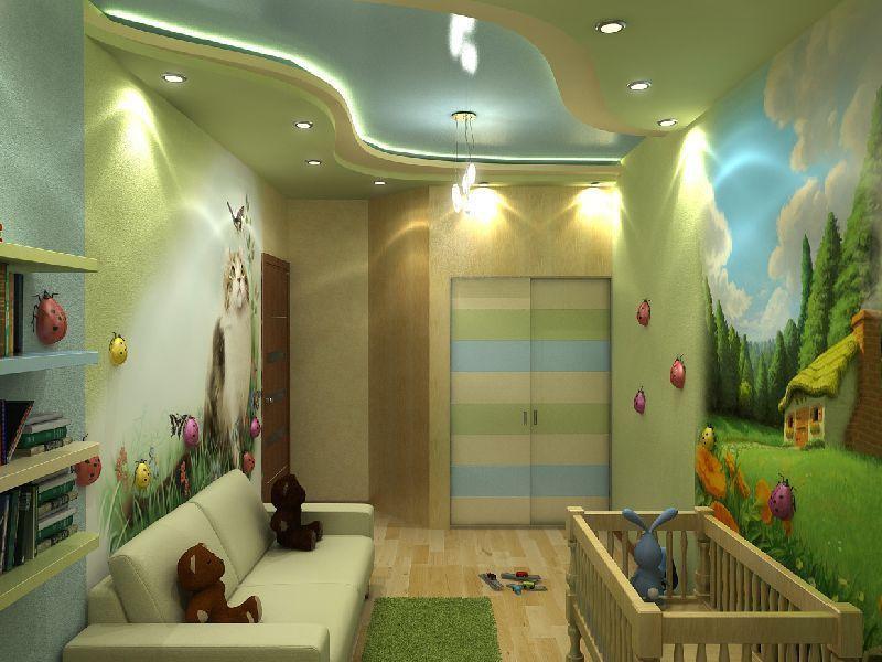 Потолок из гипсокартона в детской