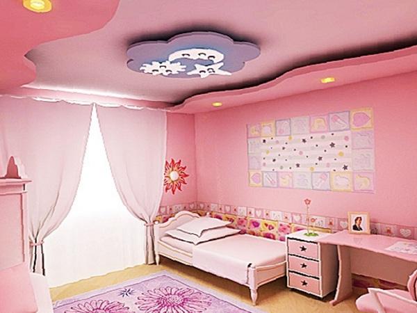 Потолок из гипсокартона в детской для деовчки