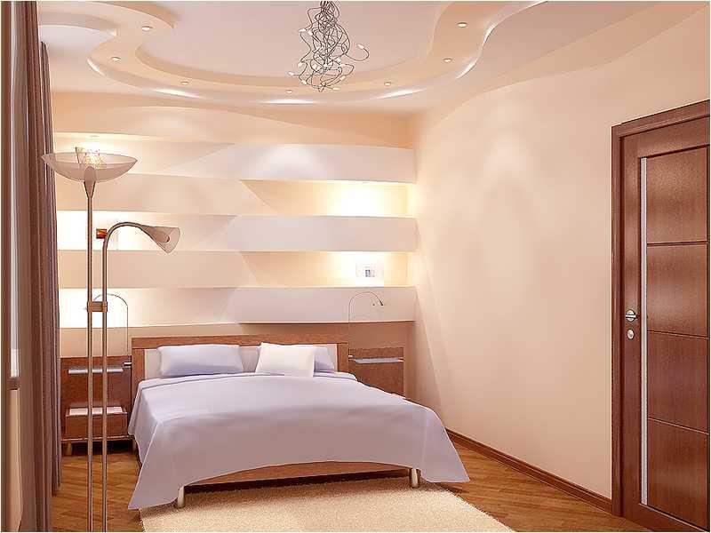 Потолок из гипсокартона в спальне
