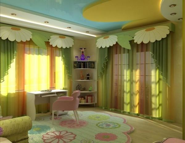 Потолок из гипсокартона в детской с росписью