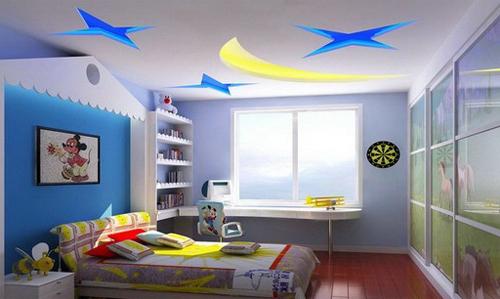 Потолок из гипсокартона в детской для мальчика