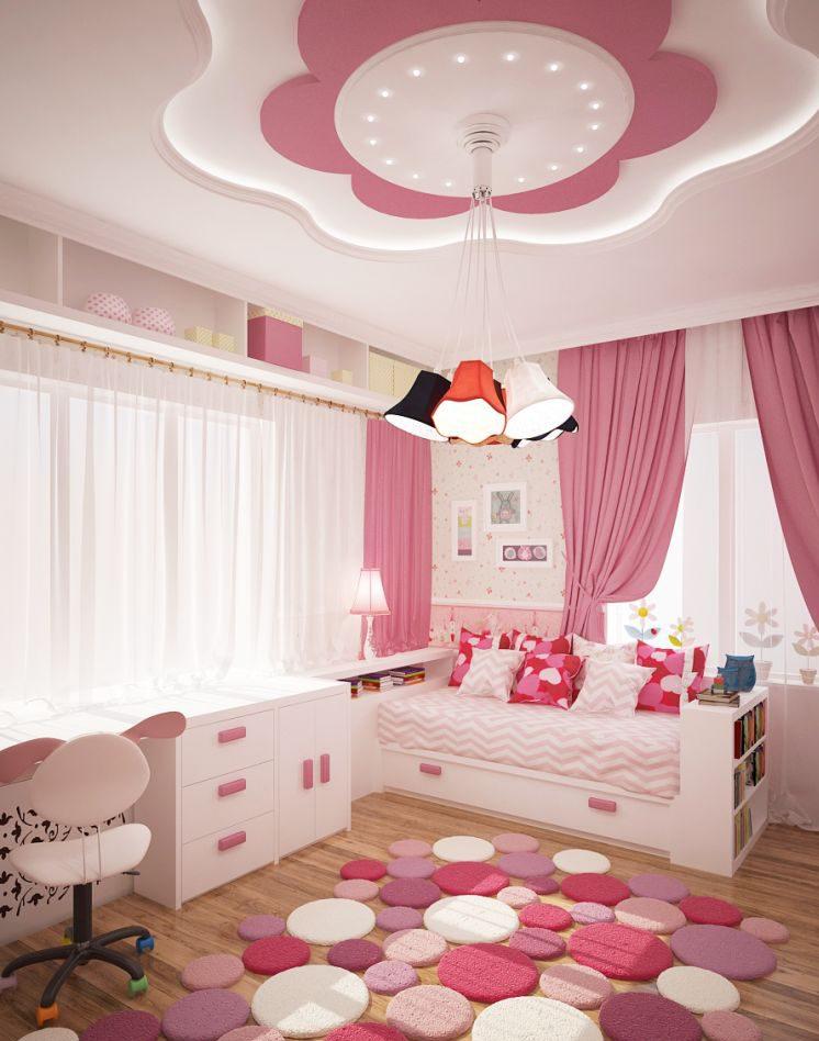 Потолок из гипсокартона в детской для девочки