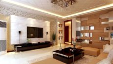 Потолок из гипсокартона в гостиной