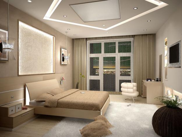 Потолок из гипрока в спальне