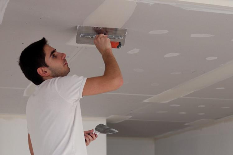 Шпаклёвка потолка из гипрока