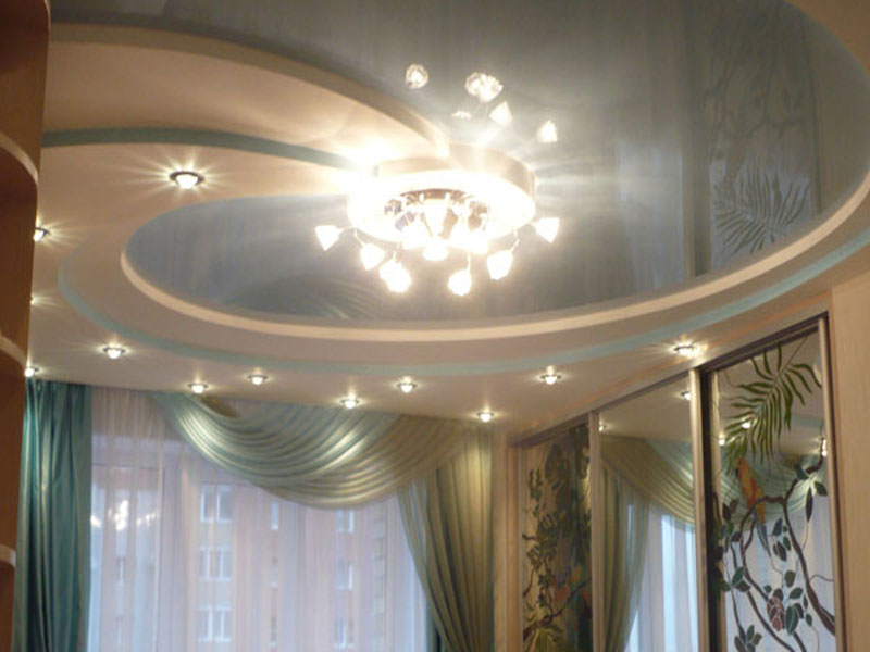 Комбинированный потолок из гипсокартона
