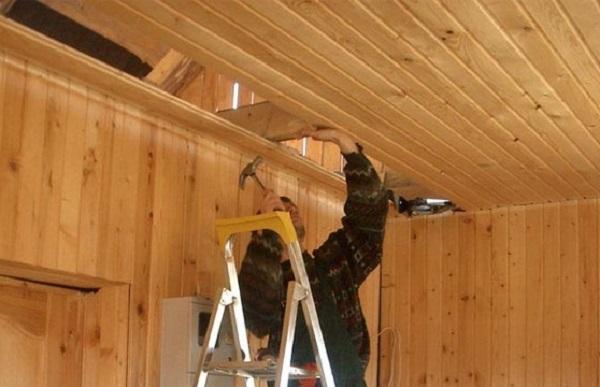 Монтаж подшивного потолка из вагонки (вариант без пароизоляции)