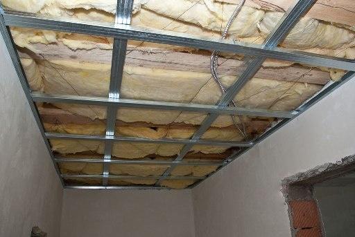 Каркас потолка из гипсокартона