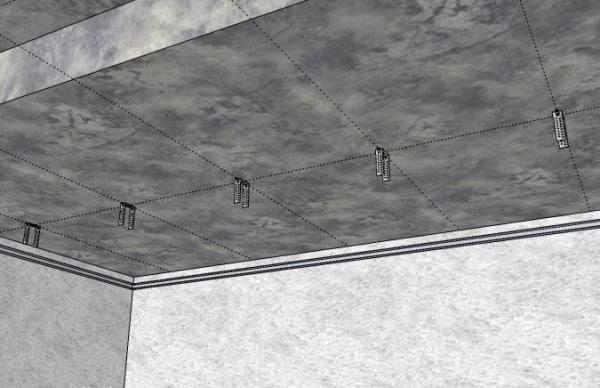 Подвесы на базовом потолке