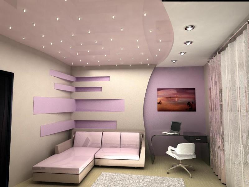 Большую роль в потолочном зонировании комнаты играет подсветка