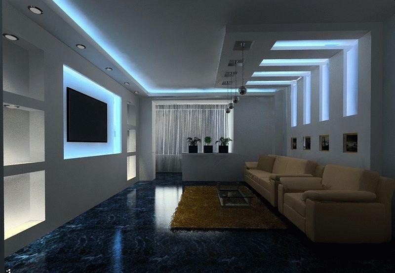 Комбинированный потолок, переходящий в стены