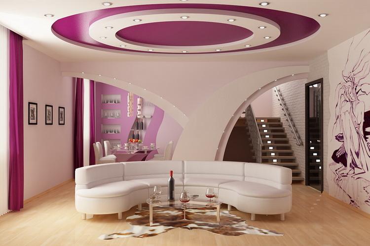 Подвесные потолки придают комнате необычный и изысканный вид