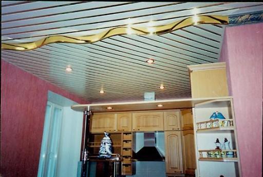 Необычный вариант зонирования помещения с помощью реечного потолка
