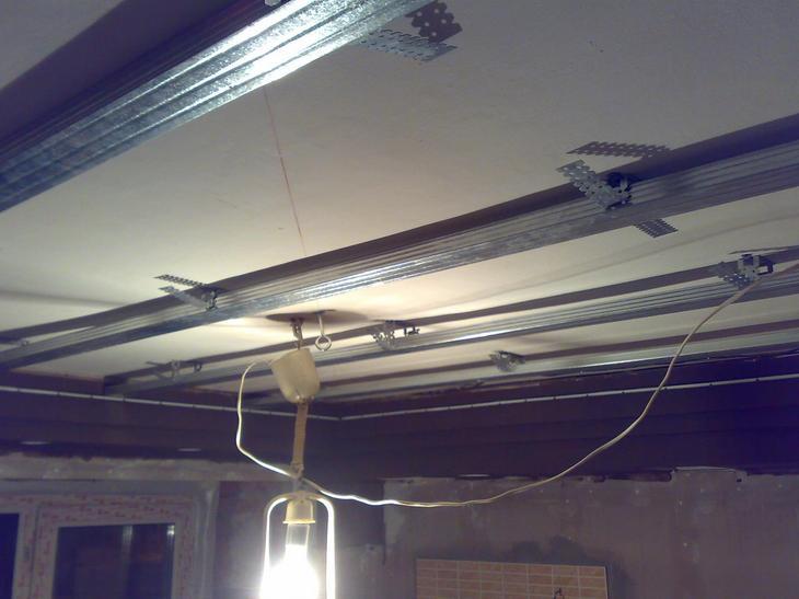 каркас потолка на кухне