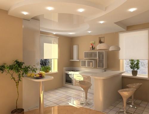 С помощью гипсокартона можно создать самые невероятные конструкции и формы. Главным критерием, которым должна обладать ваша кухня — это наличие свободного пространства и высота потолков.