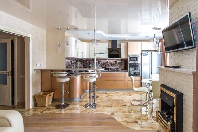двухуровневый натяжной потолок в кухне-гостиной