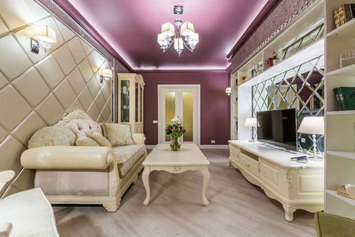 контурное освещение в гостиной с натяжными потолками