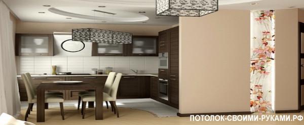 Отличный потолок из гипсокартона на кухне.
