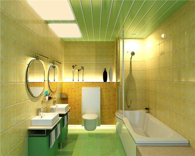 Фото 2 - Потолок в ванной комнате из пластиковых панелей