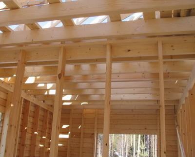 Балки потолочного перекрытия опираются на каркас наружных стен и возможные несущие перегородки между ними.