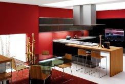 Кухня и обеденная зона в стиле хай-тек