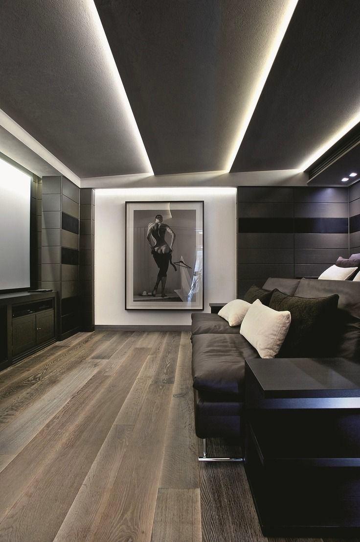 Домашний кинотеатр в цветах: черный, серый, светло-серый, бежевый. Домашний кинотеатр в стилях: американский стиль.