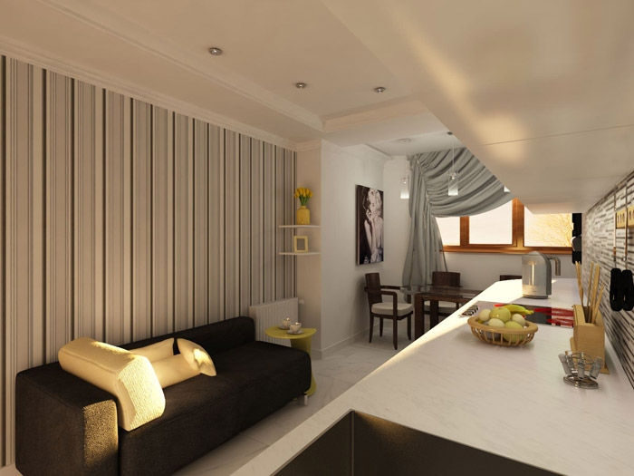 Использование встроенных светильников визуально поднимает потолок