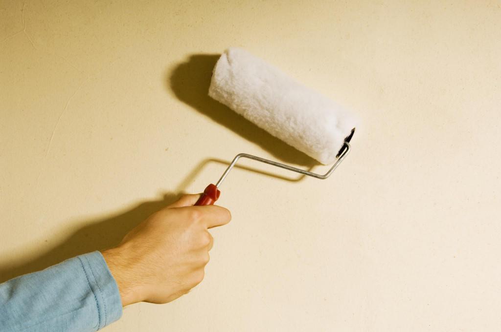 Красить потолок водоэмульсионной краской лучше всего валиком из овечьего меха